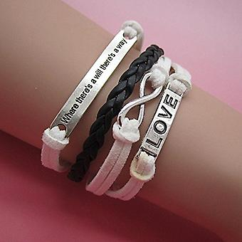 (B6) Vintage Handmade Infinity 8 Love Statement Leather Bracelet Wristband including gift box by Boolavard® TM