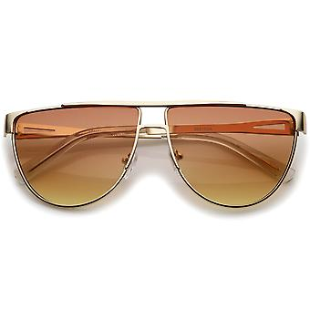 Modern Flat Top Gradient Colored Flat Lens Metal Aviator Sunglasses 63mm