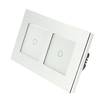 I LumoS Silver Brushed Double Frame Aluminium 2 Gang 1 Way Remote Touch LED Light Switch White Insert