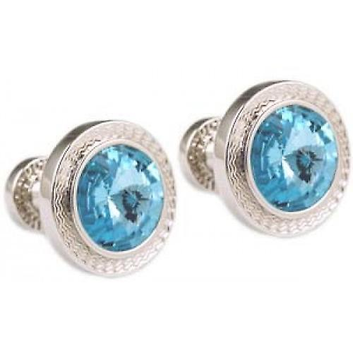 Mousie Bean Round 70's Cufflinks - Aqua Blue