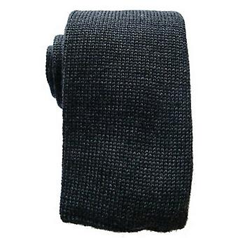 KJ Beckett Plain Wool Tie  - Charcoal Grey