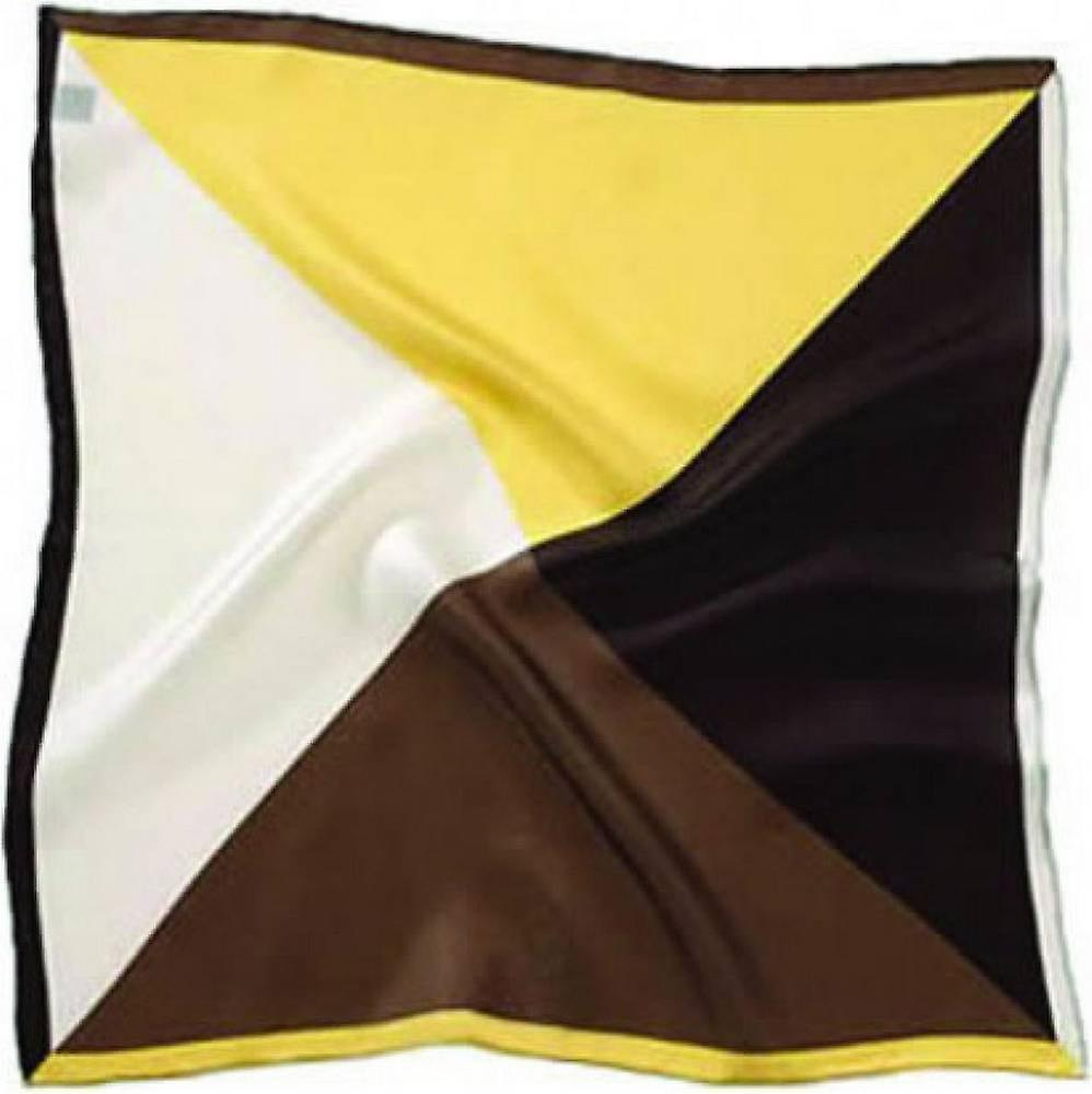 David Van Hagen 4 Colour Silk Pocket Square - Brown/Yellow