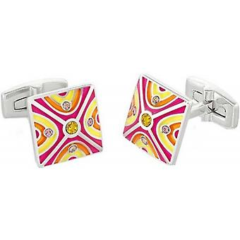 Duncan Walton Oxlow Luxury Rhodium Plated Cufflinks - Pink/Orange