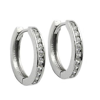 Silver glitter Creole many white zirconias folding Creole Sterling Silver 925