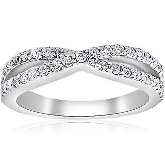 3/8Ct Diamond Crossover Infinity Stackable Wedding Band Twist Ring White Gold