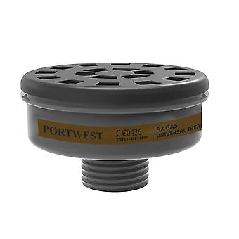 Portwest - Pack of 6 Class A2 Respirator Gas Filters Universal Thread Connection