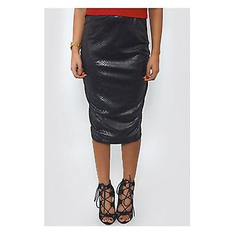 The Fashion Bible Snakeskin Black Bodycon Skirt