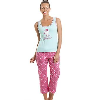Camille 100% Cotton Pink & Aqua Blue Poodle Cropped Pyjama Set