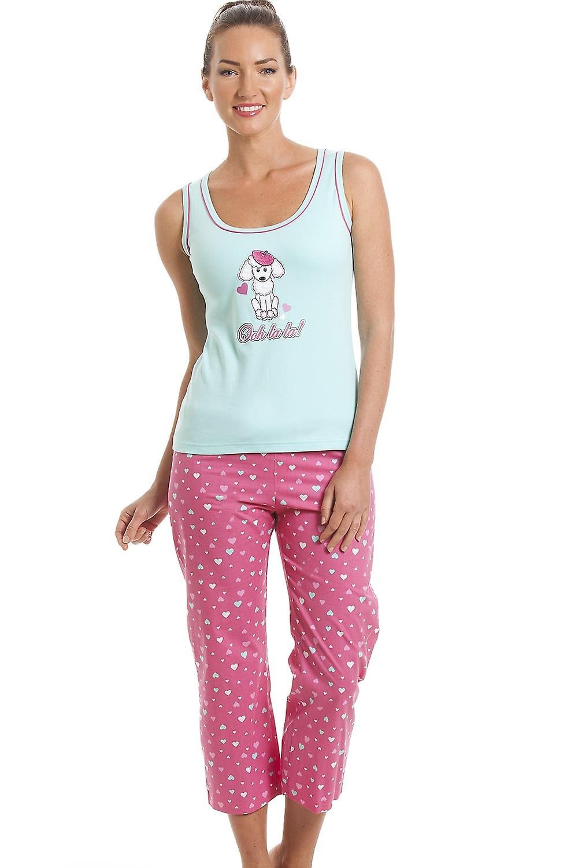 Camille 100% Cotton Pink & Aqua Blue Poodle Cropped Pyjama Set