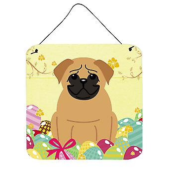 Easter Eggs Pug Brown Wall or Door Hanging Prints