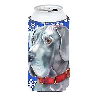 Great Dane Winter Snowflakes Holiday Tall Boy Beverage Insulator Hugger