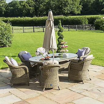 Maze Rattan Winchester Oval 6 Seater Dining Set with Ice Bucket
