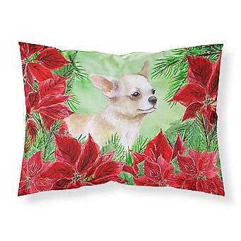 Chihuahua Leg up Poinsettas Fabric Standard Pillowcase