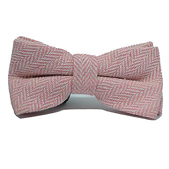 Candy Pink & Cream Herringbone Bow Tie