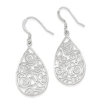 925 Sterling Silver Filigree Teardrop Dangle Earrings