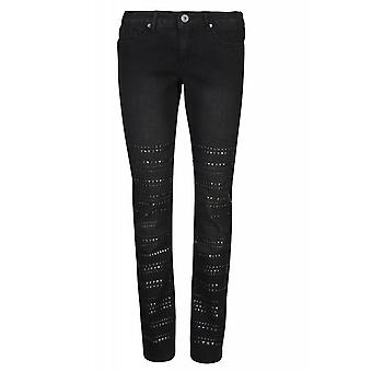 Pants Stretch jeans studded look ladies short size black