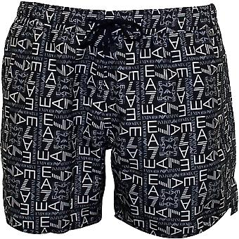 Emporio Armani EA7 Allover Logo-Grafik Swim Shorts, Navy