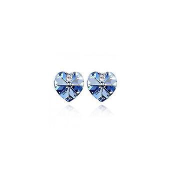 Austrian Crystal Light Blue Heart Shaped Rhinestone Stud Earrings