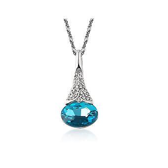 Womens Sky Blue Flower Bud hängsmycke halsband med täckt kristall stenar