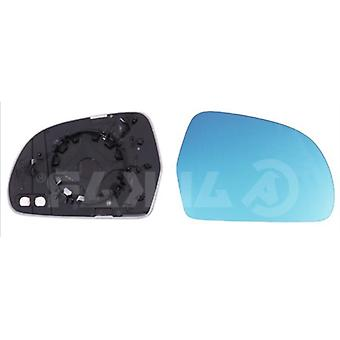 Right Blue Mirror Glass (heated) & Holder For AUDI A6 Allroad 2008-2011