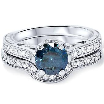 1 1/2ct Blue & White Vintage Diamond Engagement Ring Set 14K White Gold