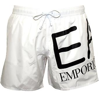 Emporio Armani EA7 Large Logo Swim Shorts, White With Black