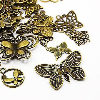 30 Grams Antique Bronze Tibetan 5-40mm Butterfly Charm/Pendant Mix HA07040