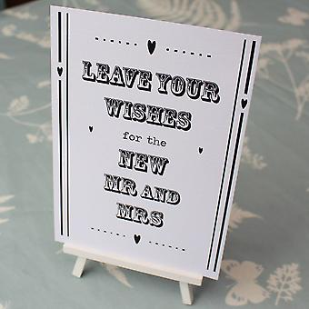 Guest Book Sign White Hearts 'Leave Your Wishes' Sign And Easel Rustic Wedding
