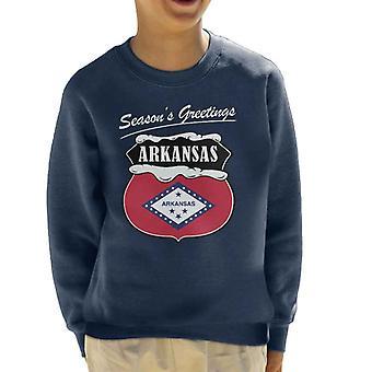 Seasons Greetings Arkansas State Flag Christmas Kid's Sweatshirt