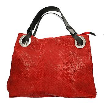 Women's handbag braided Print CTM real leather Made in Italy 38x28x10 Cm