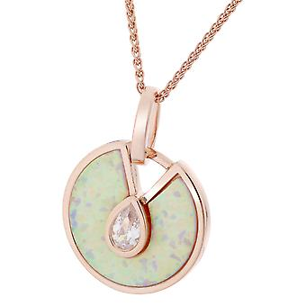 Orphelia Silver 925 Chain With Pendant Rosegold White Opal & Zirconium  ZH-7287
