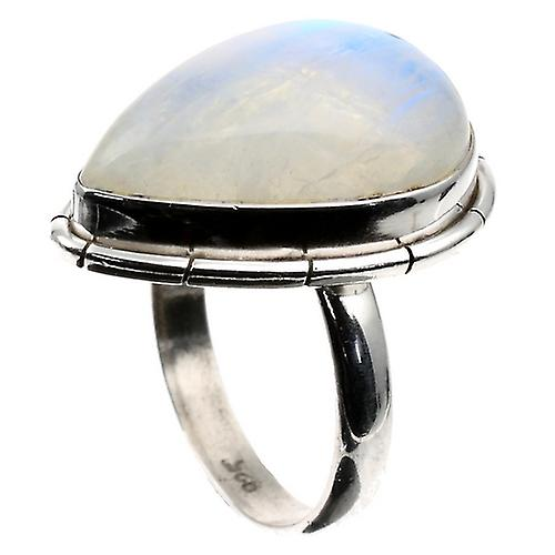 Anillo Moonstone Teardrop Plata Blue Fire