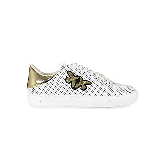 PINKO SPAGNOLO WHITE PERFORATED LEATHER SNEAKERS