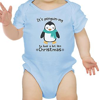 It's Penguin-Ing Funny Baby Girl Bodysuit Blue First Christmas Gifts