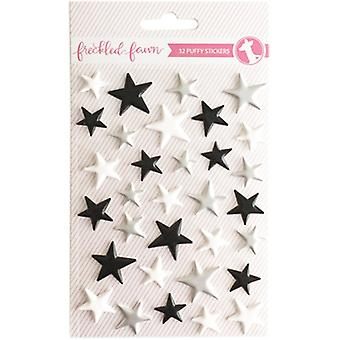 Freckled Fawn Puffy Stickers-Matte Silver, Black & White Stars