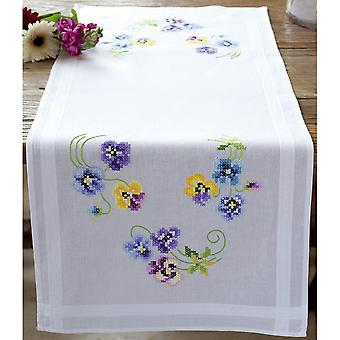 Pretty Pansies Table Runner Stamped Embroidery Kit-16