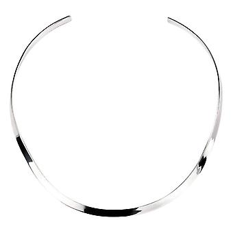 Elements Silver Curved Flat Torque Collar Necklace - Silver