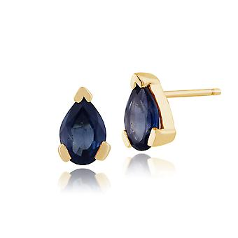 Gemondo 9ct geel gouden 0.96ct Pear licht blauwe saffier Stud Earrings
