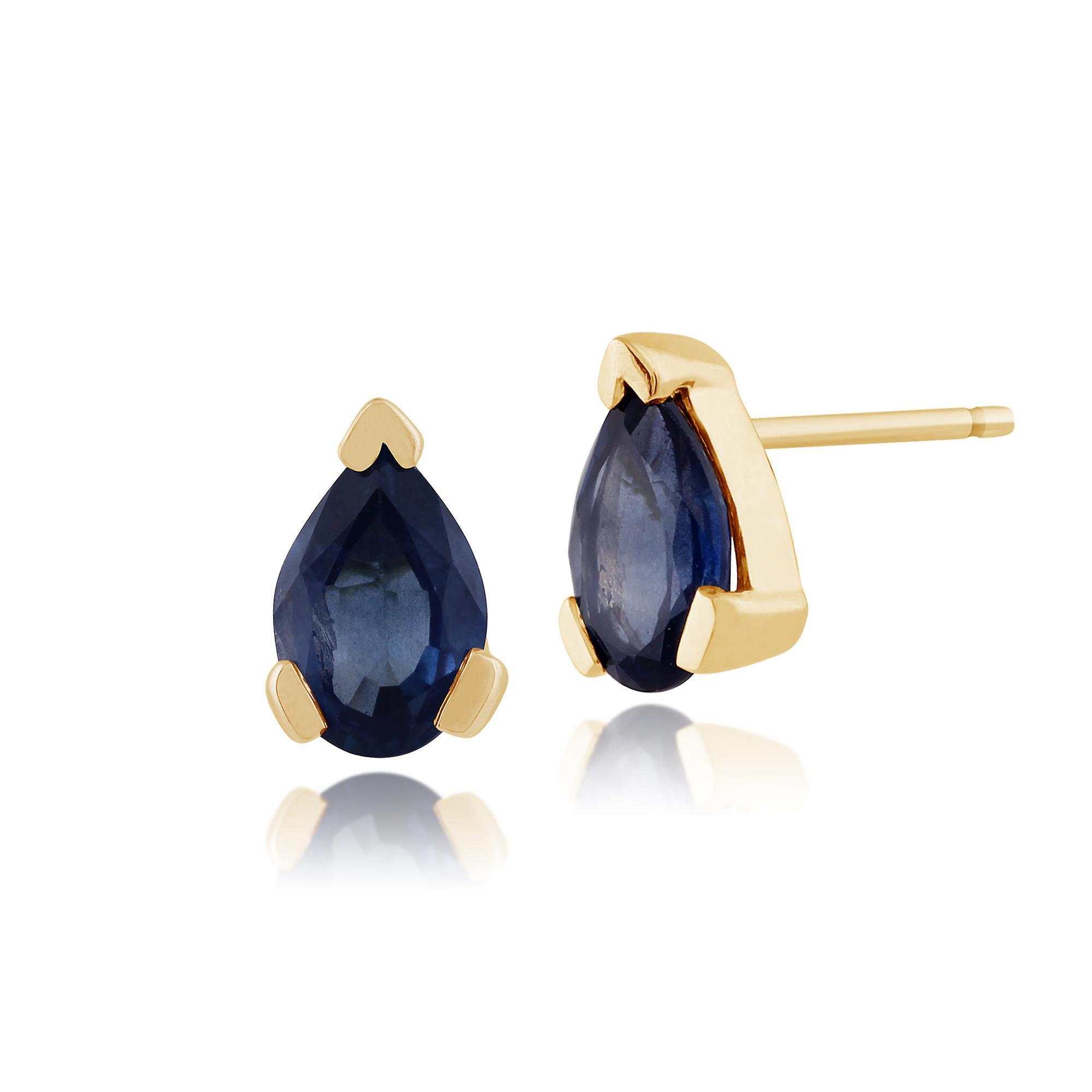 Gemondo 9ct jaune or 0.96ct Pear lumière bleu Sapphire Stud boucles d'oreilles