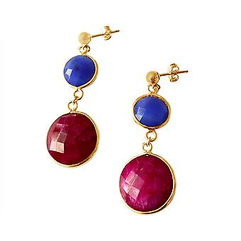 Gemshine - Damen - Ohrringe - 925 Silber - Vergoldet - Saphir - Rubin - Blau - Rot - Facettiert - 4 cm