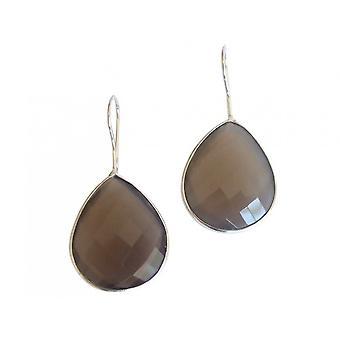 Gemshine - Damen - Ohrringe - 925 Silber - Mondstein - Grau - CANDY - Tropfen - 3,5 cm