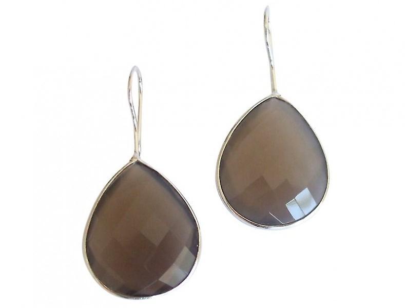 Gemshine - Les dames - boucles d'oreilles - argent 925 - pierre de lune - gris - CANDY - drops - 3,5 cm