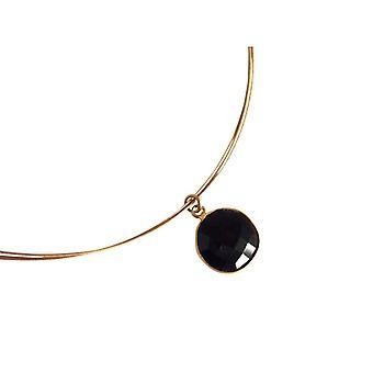 Gemshine - damer - kjede - 925 sølv - gull belagt - Onyx - svart - CANDY - 45 cm