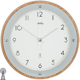 Radio controlled wall clock wall clock radio veneered wood cabinet printed mineral glass
