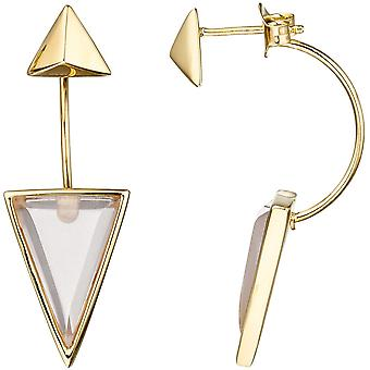Earrings triangular 925 Silver gold gold plated 2 pink glass earrings