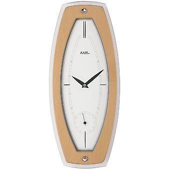 Quartz wall clock quartz wooden cabinet beech veneered mineral glass