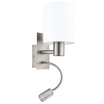 Eglo Pasteri Bedside LED Wall Reading Lamp With White Shade