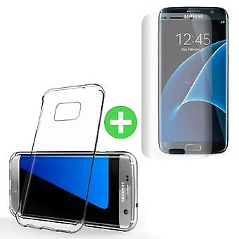 Stuff Certified ® Samsung Galaxy S7 Edge Transparent TPU Case + Screen Protector Tempered Glass