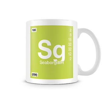 Taza impresa científica con elemento símbolo 106 Sg - Seaborgio