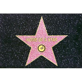 Home of A star printed floor mats black pink, 100% polyamide and non-slip PVC bottom.